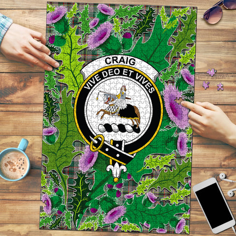 Craig Ancient Clan Crest Tartan Thistle Pattern Scotland Jigsaw Puzzle