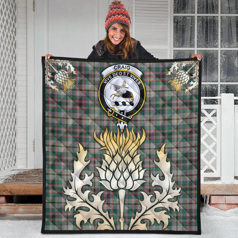 Craig Ancient Clan Crest Tartan Scotland Thistle Gold Royal Premium Quilt