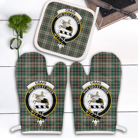Craig Ancient Clan Crest Tartan Scotland Oven Mitt And Pot-Holder (Set Of Two)
