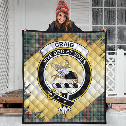 Craig Ancient Clan Crest Tartan Scotland Gold Royal Premium Quilt