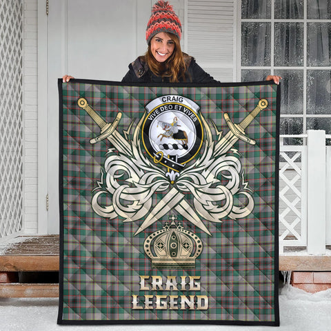 Craig Ancient Clan Crest Tartan Scotland Clan Legend Gold Royal Premium Quilt