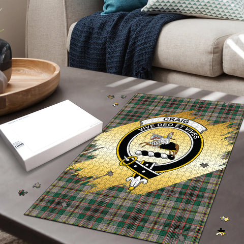 Craig Ancient Clan Crest Tartan Jigsaw Puzzle Gold