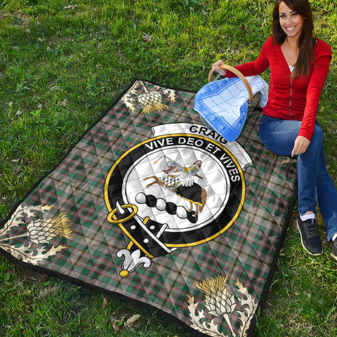Craig Ancient Clan Crest Tartan Scotland Thistle Gold Pattern Premium Quilt K9