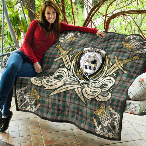 Craig Ancient Clan Crest Tartan Scotland Thistle Symbol Gold Royal Premium Quilt K9