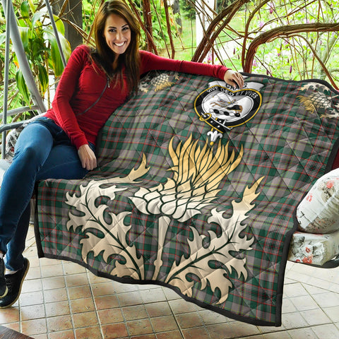 Craig Ancient Clan Crest Tartan Scotland Thistle Gold Royal Premium Quilt K9