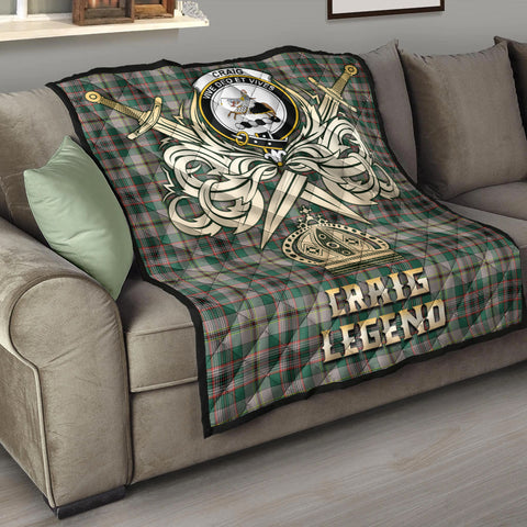 Craig Ancient Clan Crest Tartan Scotland Clan Legend Gold Royal Premium Quilt K9