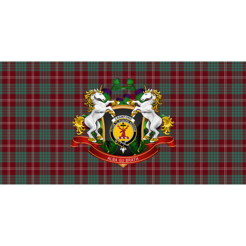Image of Crawford Modern Crest Tartan Tablecloth Unicorn Thistle A30