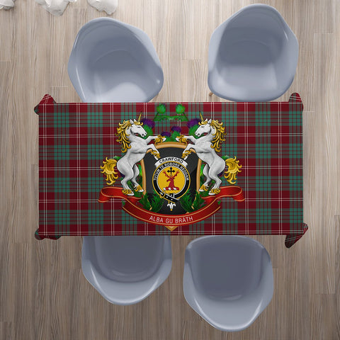 Image of Crawford Modern Crest Tartan Tablecloth Unicorn Thistle | Home Decor