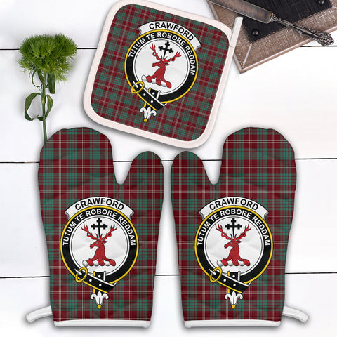Image of Crawford Modern Clan Crest Tartan Scotland Oven Mitt And Pot-Holder (Set Of Two)