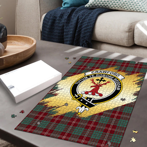 Image of Crawford Modern Clan Crest Tartan Jigsaw Puzzle Gold