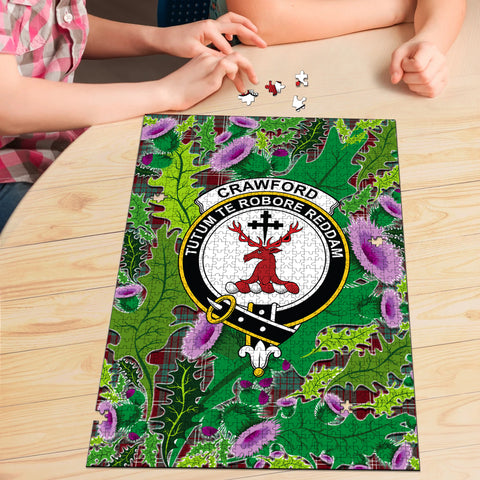 Image of Crawford Modern Clan Crest Tartan Thistle Pattern Scotland Jigsaw Puzzle