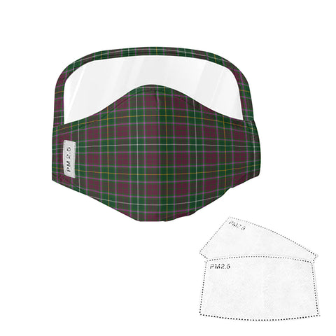 Crosbie Tartan Face Mask With Eyes Shield - Green & Violet  Plaid Mask TH8