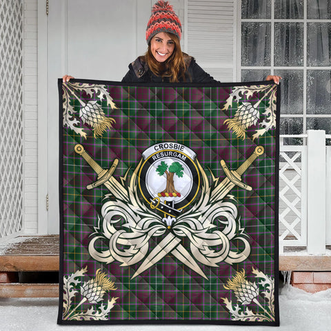 Image of Crosbie Clan Crest Tartan Scotland Thistle Symbol Gold Royal Premium Quilt