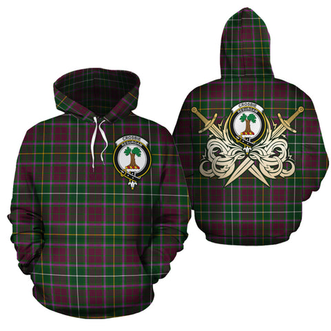 Crosbie Clan Crest Tartan Scottish Gold Thistle Hoodie