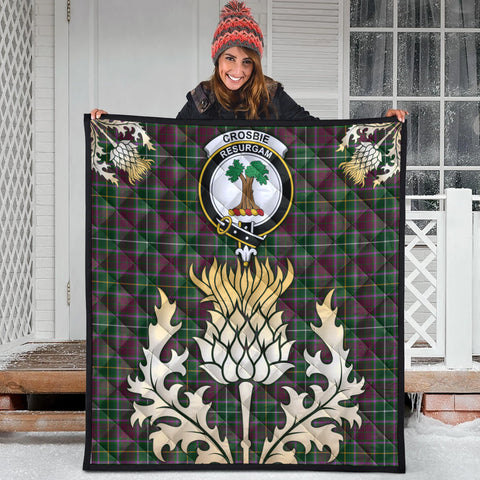 Image of Crosbie Clan Crest Tartan Scotland Thistle Gold Royal Premium Quilt