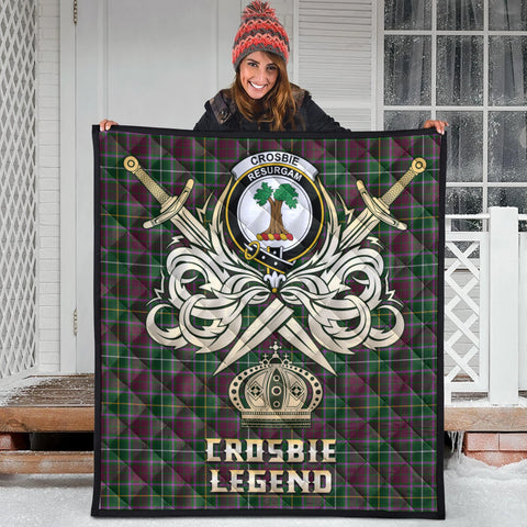 Image of Crosbie Clan Crest Tartan Scotland Clan Legend Gold Royal Premium Quilt