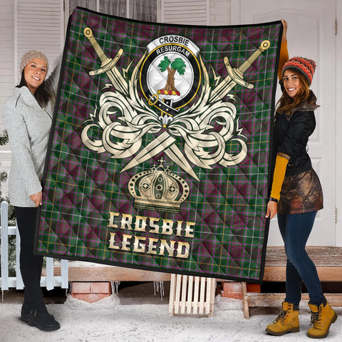 Image of Crosbie Clan Crest Tartan Scotland Clan Legend Gold Royal Premium Quilt K9