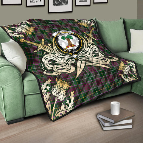 Crosbie Clan Crest Tartan Scotland Thistle Symbol Gold Royal Premium Quilt K9