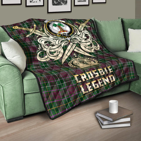 Crosbie Clan Crest Tartan Scotland Clan Legend Gold Royal Premium Quilt K9