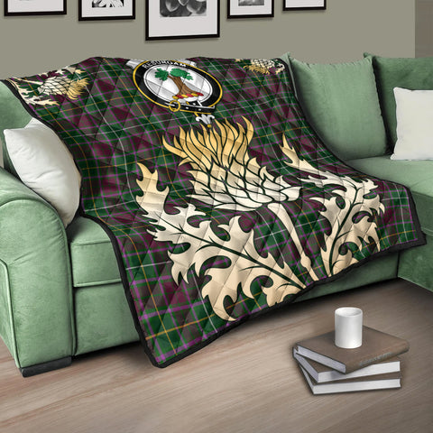 Image of Crosbie Clan Crest Tartan Scotland Thistle Gold Royal Premium Quilt K9