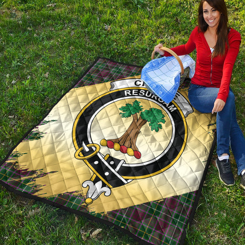 Image of Crosbie Clan Crest Tartan Scotland Gold Royal Premium Quilt K9