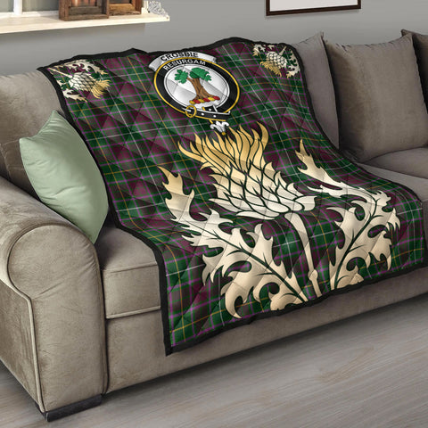 Crosbie Clan Crest Tartan Scotland Thistle Gold Royal Premium Quilt K9