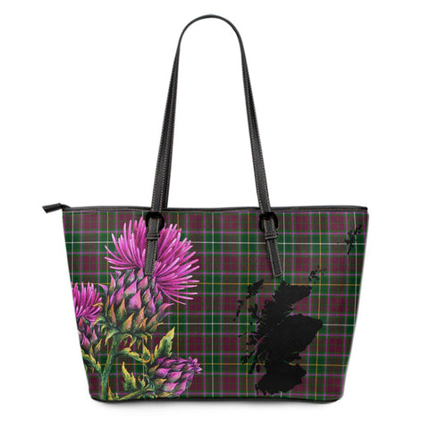 Crosbie Tartan Leather Tote Bag Thistle Scotland Maps A91