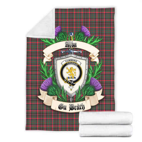 Cumming Hunting Modern Crest Tartan Blanket Thistle  | Tartan Home Decor | Scottish Clan