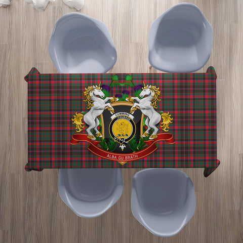 Cumming Hunting Modern Crest Tartan Tablecloth Unicorn Thistle | Home Decor