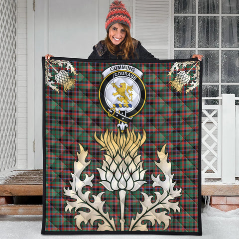 Cumming Hunting Ancient Clan Crest Tartan Scotland Thistle Gold Royal Premium Quilt
