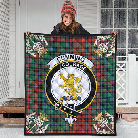 Image of Cumming Hunting Ancient Clan Crest Tartan Scotland Thistle Gold Pattern Premium Quilt