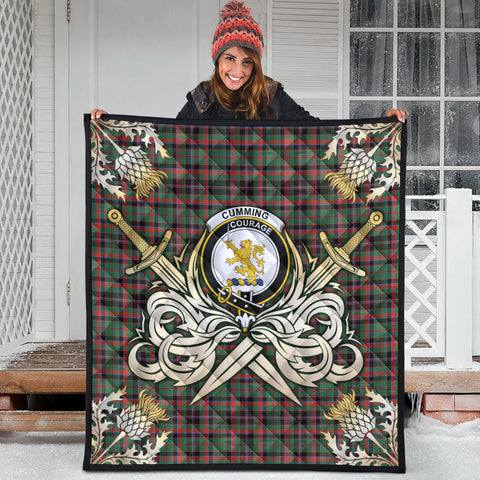 Image of Cumming Hunting Ancient Clan Crest Tartan Scotland Thistle Symbol Gold Royal Premium Quilt