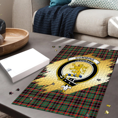 Image of Cumming Hunting Ancient Clan Crest Tartan Jigsaw Puzzle Gold