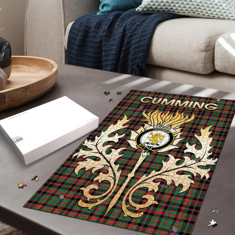 Cumming Hunting Ancient Clan Name Crest Tartan Thistle Scotland Jigsaw Puzzle