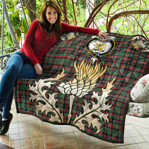 Image of Cumming Hunting Ancient Clan Crest Tartan Scotland Thistle Gold Royal Premium Quilt K9