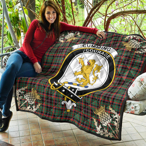 Image of Cumming Hunting Ancient Clan Crest Tartan Scotland Thistle Gold Pattern Premium Quilt K9