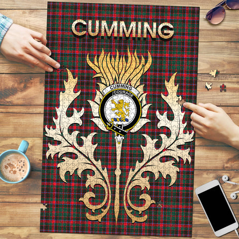 Cumming Hunting Modern Clan Name Crest Tartan Thistle Scotland Jigsaw Puzzle