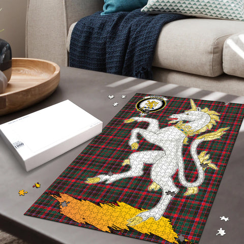 Image of Cumming Hunting Modern Clan Crest Tartan Unicorn Scotland Jigsaw Puzzle