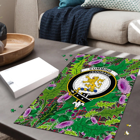 Image of Cumming Hunting Modern Clan Crest Tartan Thistle Pattern Scotland Jigsaw Puzzle