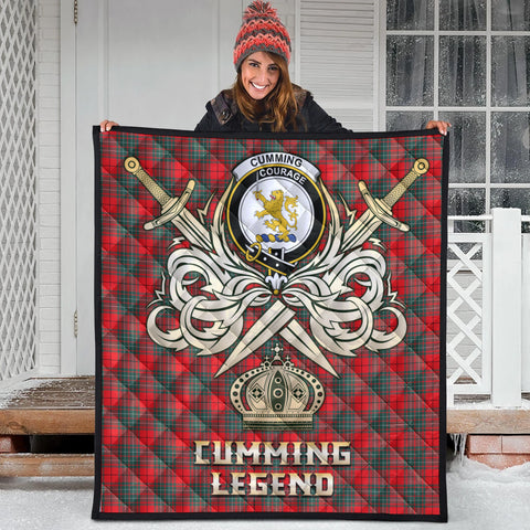 Cumming Modern Clan Crest Tartan Scotland Clan Legend Gold Royal Premium Quilt