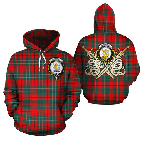 Cumming Modern Clan Crest Tartan Scottish Gold Thistle Hoodie