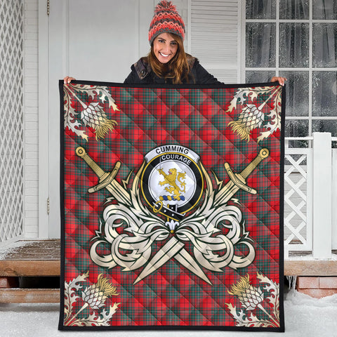 Image of Cumming Modern Clan Crest Tartan Scotland Thistle Symbol Gold Royal Premium Quilt