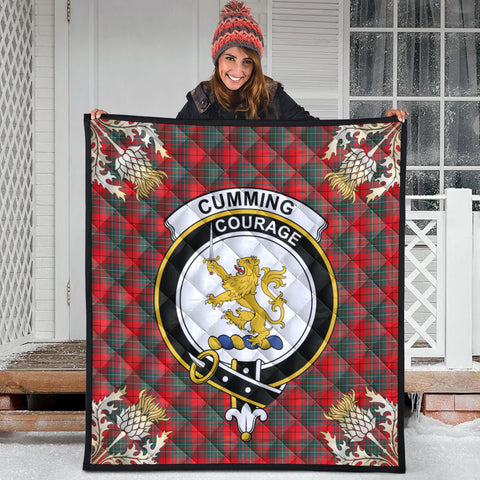 Image of Cumming Modern Clan Crest Tartan Scotland Thistle Gold Pattern Premium Quilt
