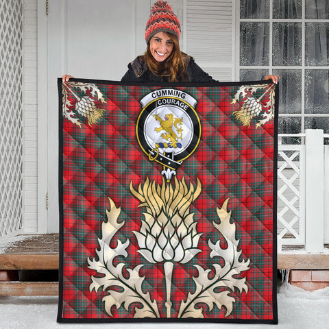 Cumming Modern Clan Crest Tartan Scotland Thistle Gold Royal Premium Quilt