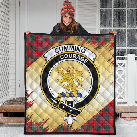 Cumming Modern Clan Crest Tartan Scotland Gold Royal Premium Quilt