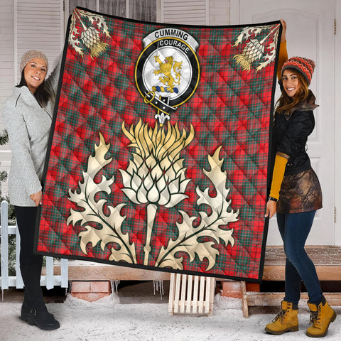 Cumming Modern Clan Crest Tartan Scotland Thistle Gold Royal Premium Quilt K9