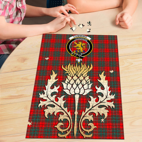 Image of Cumming Modern Clan Crest Tartan Thistle Gold Jigsaw Puzzle