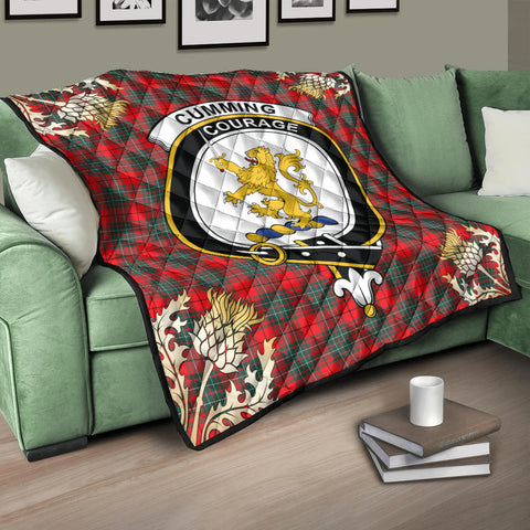 Image of Cumming Modern Clan Crest Tartan Scotland Thistle Gold Pattern Premium Quilt K9
