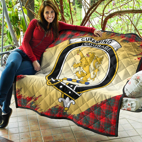 Cumming Modern Clan Crest Tartan Scotland Gold Royal Premium Quilt K9