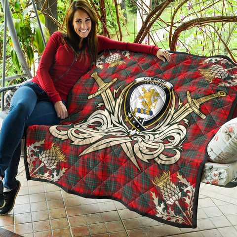 Image of Cumming Modern Clan Crest Tartan Scotland Thistle Symbol Gold Royal Premium Quilt K9